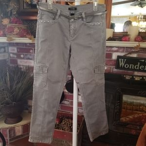 WHBM GREY SLIM ANKLE CARGO PANTS 8